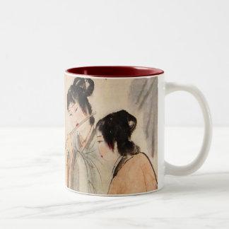 Chinese girls playing flute Two-Tone coffee mug