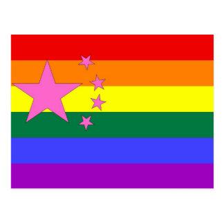 Chinese GLBT Pride Flag Postcard