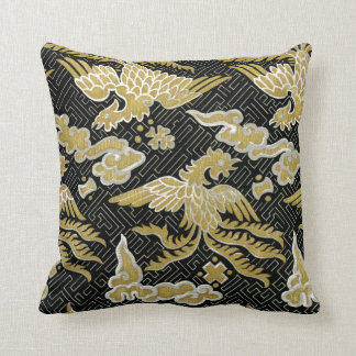 Chinese Gold and Black Phoenix Pattern Throw Pillow