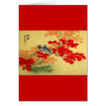 Chinese Gold and Red Floral Cards