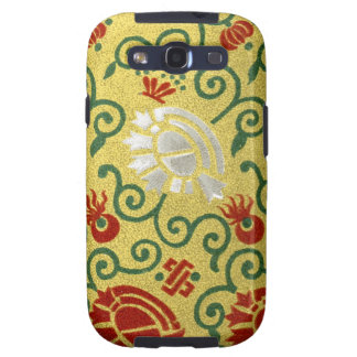 Chinese Gold and Red Floral Pattern Samsung Galaxy S3 Cover