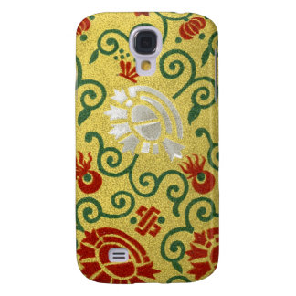 Chinese Gold and Red Floral Pattern Samsung Galaxy S4 Cover