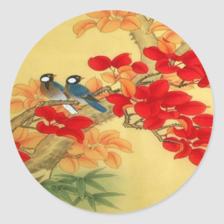 Chinese Gold and Red Floral Classic Round Sticker
