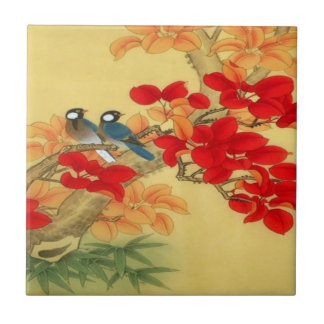 Chinese Gold and Red Floral Ceramic Tile