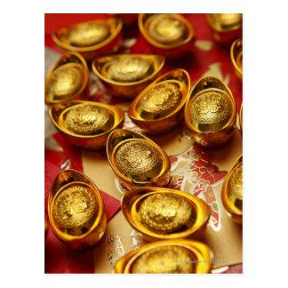 Chinese gold ingots postcard