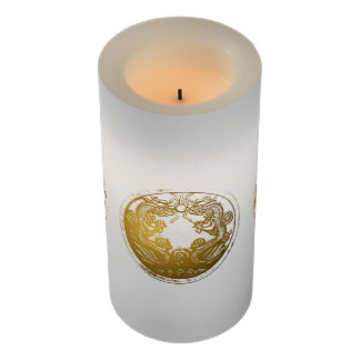 Chinese Golden Dragons Meditation Therapy Flameless Candle
