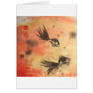 Chinese Goldfish Sunset White Borders Card