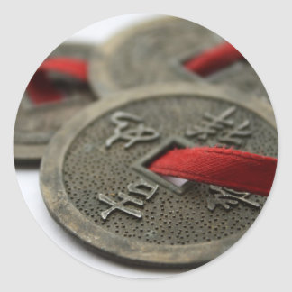 Chinese Good Luck Coins Classic Round Sticker