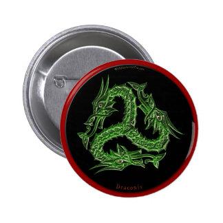 CHINESE GREEN DRAGON Design Pinback Button