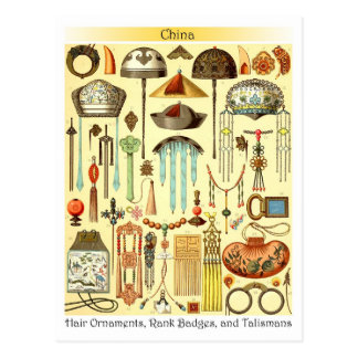 Chinese Hair Ornaments, Rank Badges, and Talismans Post Card