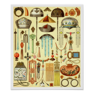 Chinese Hair Ornaments, Rank Badges, and Talismans Poster