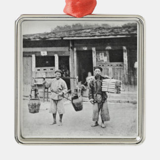 Chinese Hawkers, c.1870 (b/w photo) Metal Ornament