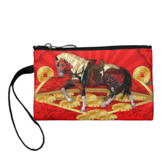 Chinese Horse Equine Coin Purse Red And Gold Efect