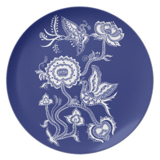 Chinese Indigo Birds Party Plate