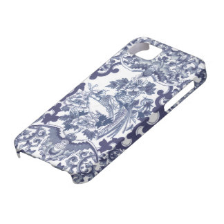 Chinese inspired blue pattern with birds toile iPhone SE/5/5s case