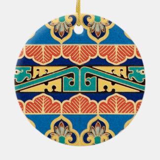 Chinese Japanese Geometric Pattern Design Oriental Ceramic Ornament