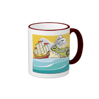 Chinese Junk and Sea Monster Ringer Coffee Mug