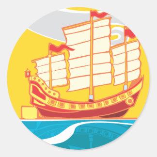 Chinese Junk Classic Round Sticker