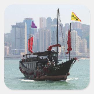 Chinese junk, Hong Kong 2 Square Sticker