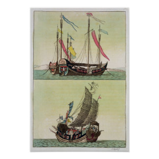 Chinese Junk, illustration Poster