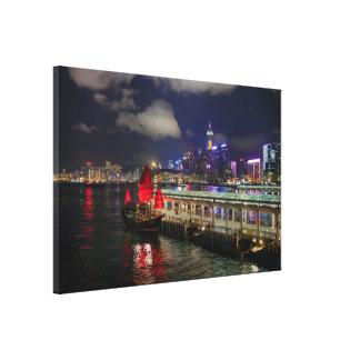 Chinese Junk in Hong Kong at Night Canvas Print