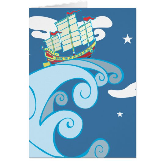 Chinese Junk on a Tsunami. Card
