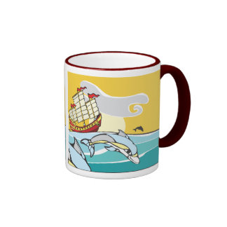 Chinese Junk with dolphins. Ringer Coffee Mug
