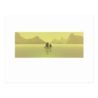 Chinese Junk yellow Post Card