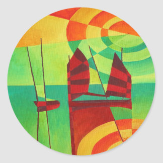 Chinese Junks On Still Waters Classic Round Sticker