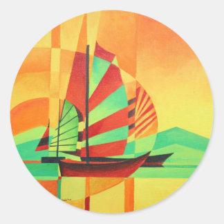 Chinese Junks Sail to Shore Classic Round Sticker