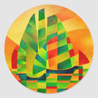 Chinese Junks, Sunset, Sails and Shadows Classic Round Sticker