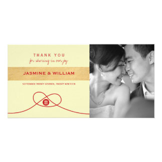 Chinese Knot Double Happiness Wedding Thank You Customized Photo Card