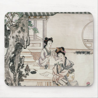 Chinese ladies in a garden mouse pad