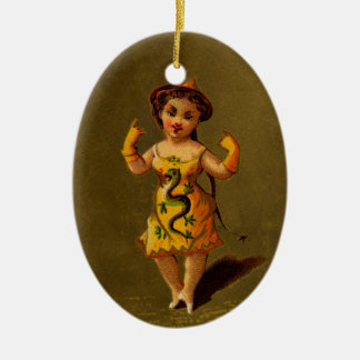 Chinese Lady in Yellow Dress with Dragon Ceramic Ornament