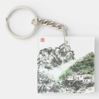 Chinese Landscape Home Sweet Home Keychain