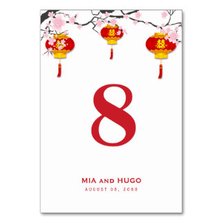 Chinese Lantern and Cherry Blossoms Wedding Table Number