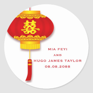 Chinese Lantern and Double Happiness Wedding Classic Round Sticker