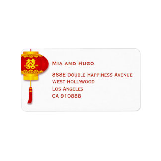 Chinese Lantern and Double Happiness Wedding Label