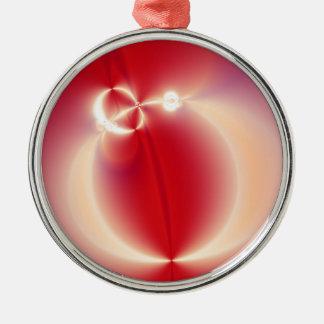Chinese Lantern Fractal Round Round Metal Christmas Ornament