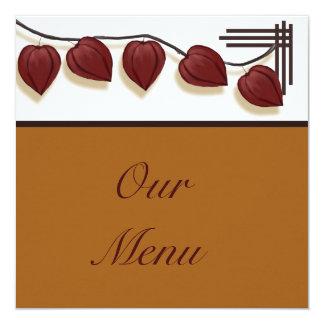 Chinese Lantern Plant Thanksgiving Menu Card