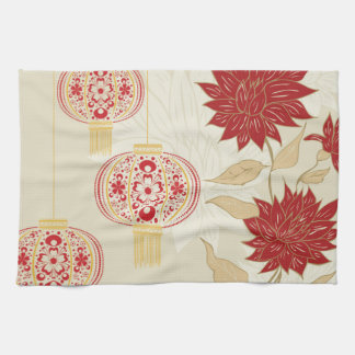 Chinese Lantern with Flowers 3 Towel