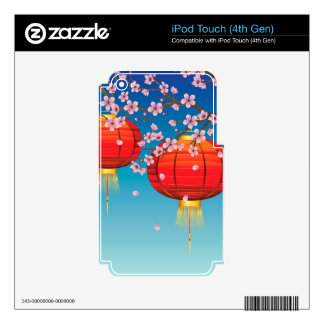Chinese Lantern with Sakura Branch 2 Decals For iPod Touch 4G