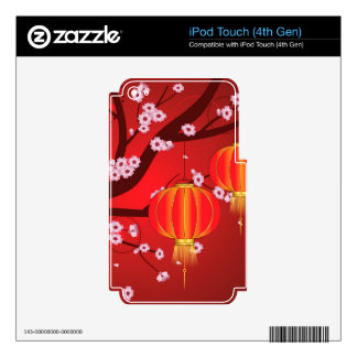 Chinese Lantern with Sakura Branch 4 Decal For iPod Touch 4G