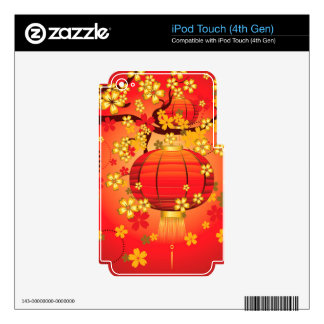 Chinese Lantern with Sakura Branch 7 Skin For iPod Touch 4G