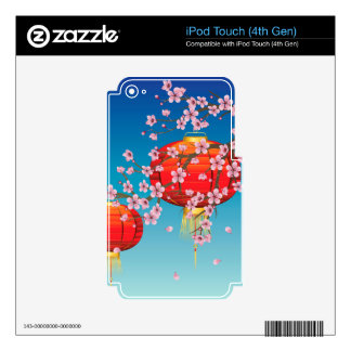 Chinese Lantern with Sakura Branch Decals For iPod Touch 4G