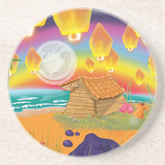 Chinese lanterns floating on a moonlit beach sandstone coaster