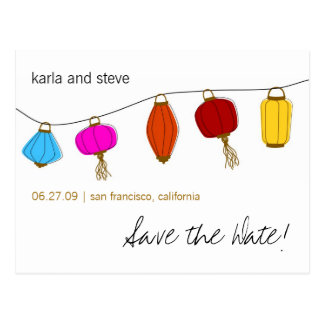 Chinese Lanterns Save the Date Postcard
