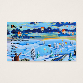 Chinese lanterns winter landscape painting business card