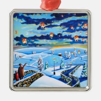 Chinese lanterns winter landscape painting metal ornament