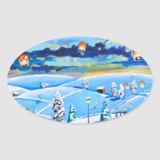 Chinese lanterns winter landscape painting oval sticker
